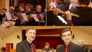Trompettistes vue de face et gros plan sur flute traversière avec nos 2 chefs d'orchestre radieux